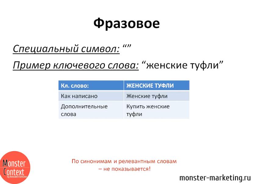 Типы соответствия Google Adwords - Фразовое соответствие
