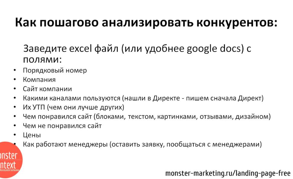 Анализ Рынка и конкурентов для landing page - Как пошагово анализировать конкурентов