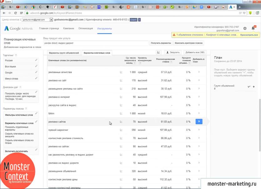 Подбор ключевых слов Яндекс Директ и Google Adwords - Ключи, которые подобрал сам Google AdWords Keyword Planner