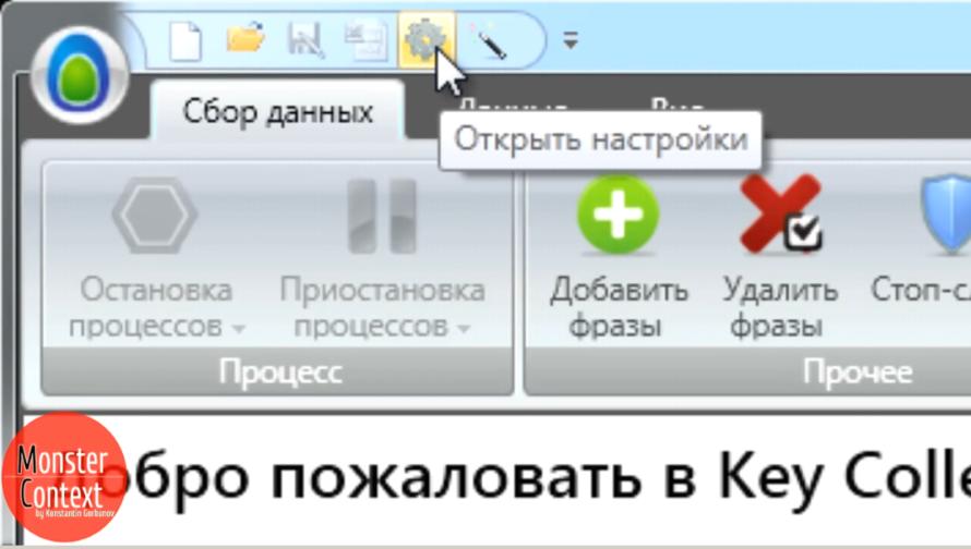 Key Collector Яндекс Директ - Кнопка настройки в Key Collector