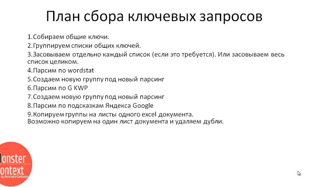 Key Collector Яндекс Директ - План сбора ключевых запросов
