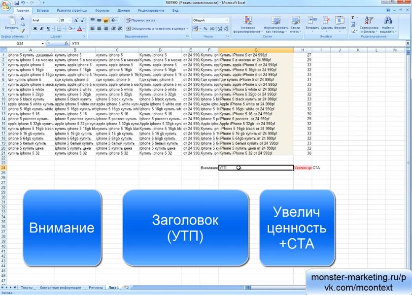 Яндекс Директ Excel. Yandex Direct excel - Привлечь внимание перед УТП