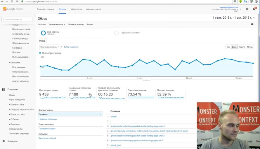 Как смотреть и анализировать статистику Google Analytics - Поведение. Обзор