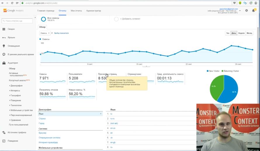 Как смотреть и анализировать статистику Google Analytics - Просмотры страниц