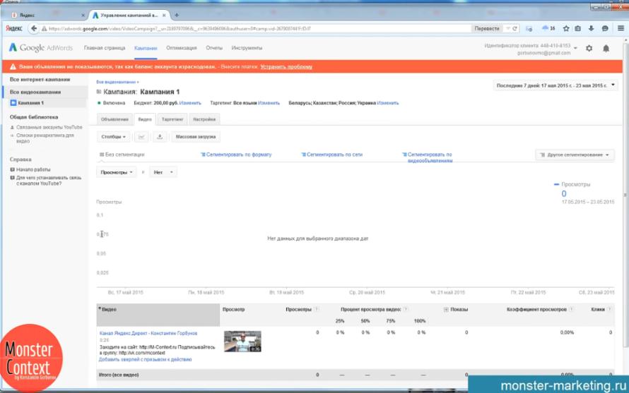Google Adwords Видеореклама - Рекламная кампания с видеообъявлением