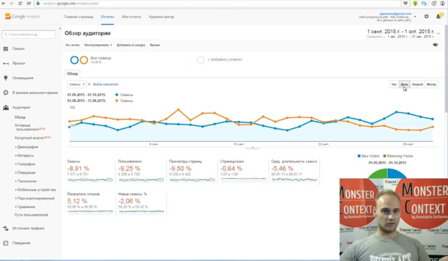 Как смотреть и анализировать статистику Google Analytics - Сравнение по диапазону дат