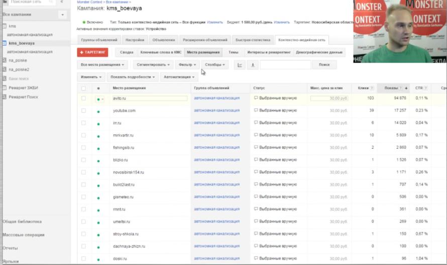 Google adwords editor - Темы и места размещения в Google Adwords