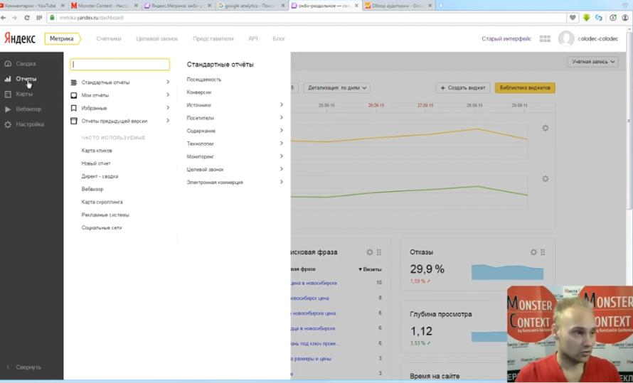 Аналитика Яндекс Метрики - Вкладка отчеты в Яндекс Метрике 2.0