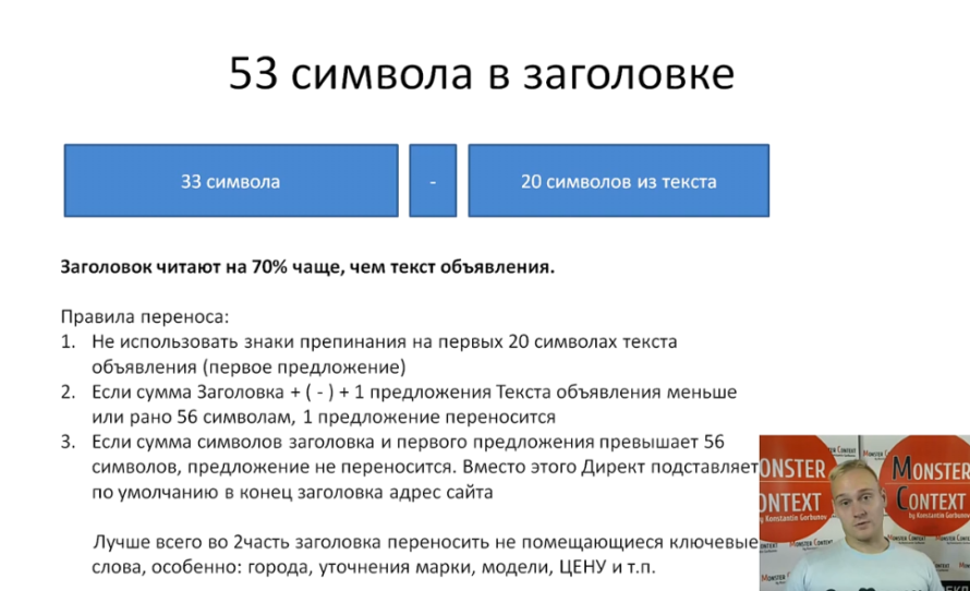 Объявления на поиске Директ 2016: Заголовки, Высокий CTR, 56 символов, быстрые ссылки, уточнения - 53 символа в заголовке