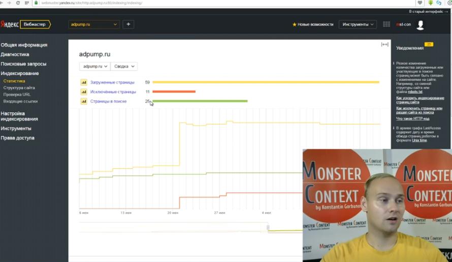 Яндекс Вебмастер 2.0 — обзор новых инструментов - Индексирование. Статистика