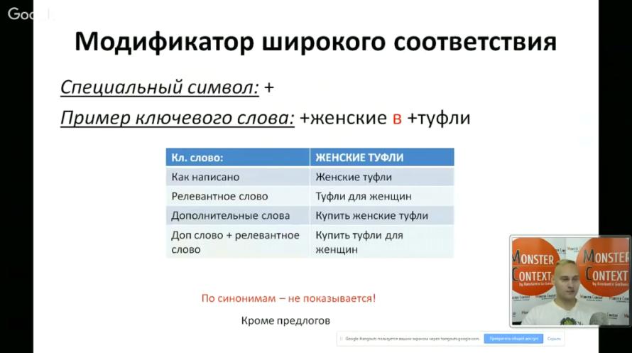 Мастер Класс по Google Adwords (День1): Пошаговая инструкция на поиске - Модификатор широкого соответствия