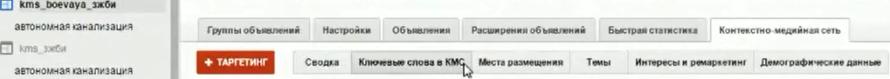 Настройка Google AdWords (День 2): таргетинг, КМС, GMC, YT реклама - вкладочка с ключевыми словами «перетекает» в «ключевые слова» в контекстно-медийной сети.