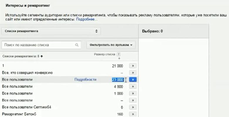 Настройка Google AdWords (День 2): таргетинг, КМС, GMC, YT реклама - Список ремаркетинга, который можете использовать, настроив, как аудитории посетителей сайтов