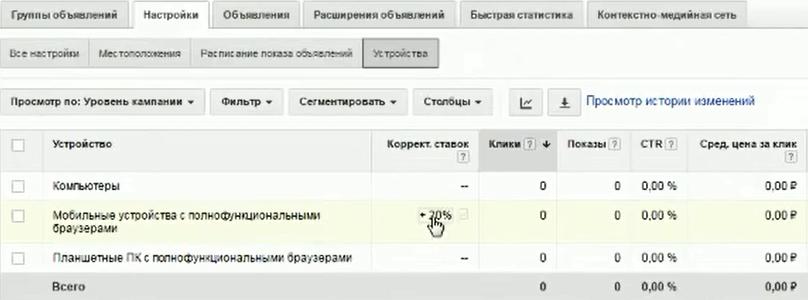 Настройка Google AdWords (День 2): таргетинг, КМС, GMC, YT реклама - Устройства