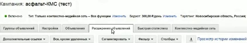 Настройка Google AdWords (День 2): таргетинг, КМС, GMC, YT реклама - Расширение объявлений