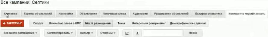 Настройка Google AdWords (День 2): таргетинг, КМС, GMC, YT реклама - Вкладка Кампании